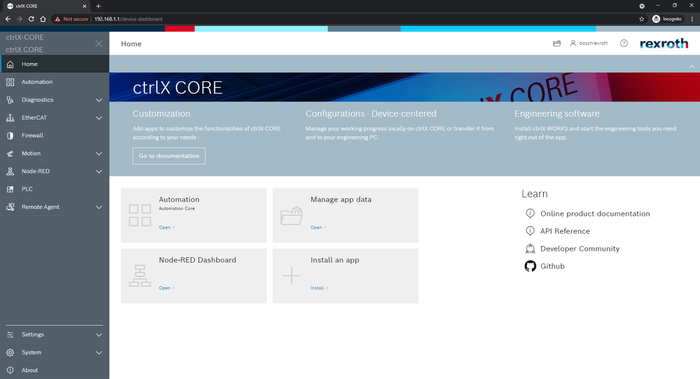 CTRLX CORE user interface