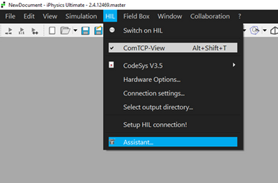 Figure 3:  Start the HIL Assistant to interactively setup the HIL interface