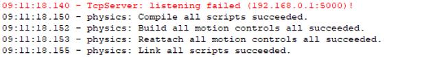 Figure 22: Listening failed on TCP server