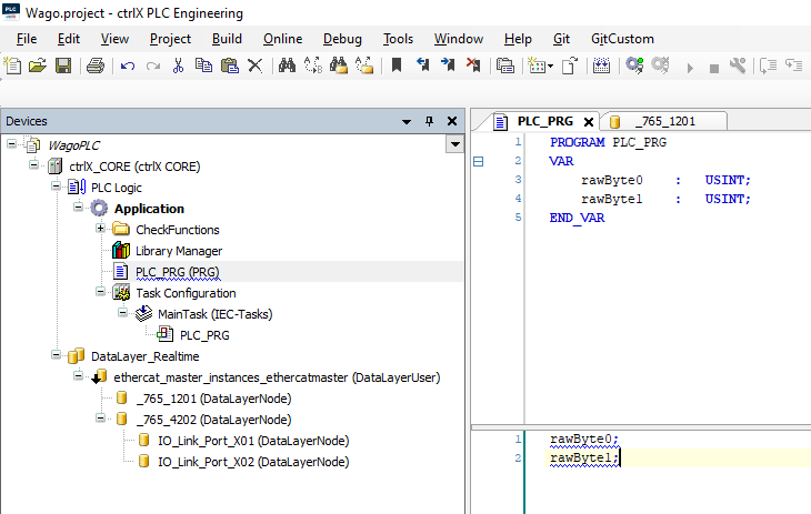 PLC_PRG: Variable declaration and programming