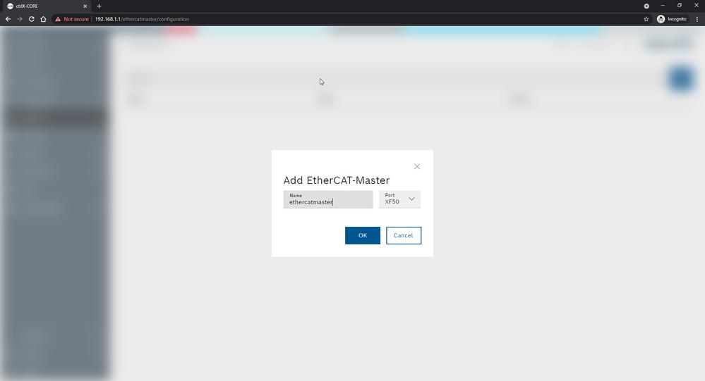 EtherCAT > Configuration > [+] > [OK]