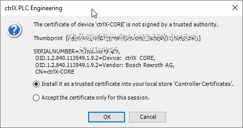 Online > Login > Install certificate