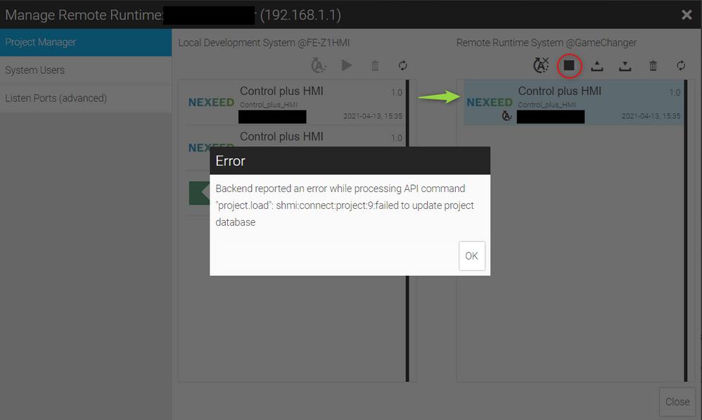 Error during HMI Start in App
